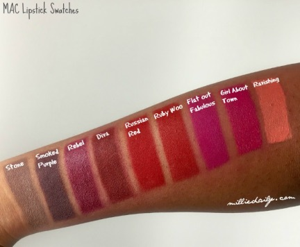 MAC lipstick swatches